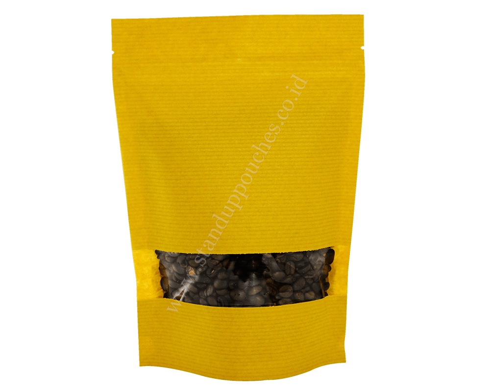 Yellow Striped paper pouches with rectangle window